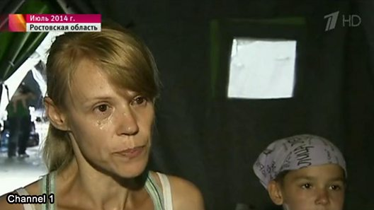 "Russian TV picture of woman at the heart of Channel One's discredited ""crucified boy"" story"
