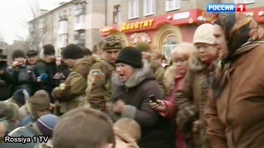 Russian TV pictures of angry crowd in Donetsk
